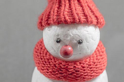 Snowman, Winter, Cap, Cold, Mood, Postcard