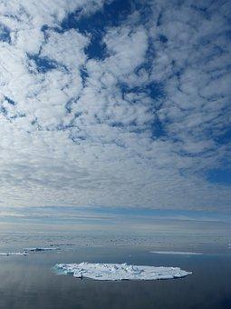 Spitsbergen, Arctic Ocean, Sky, Clouds, Ice Floe