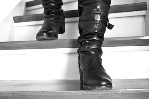 Stairs, Boots, Leather Boots, Go, Down, Woman