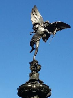 Eros, Statue, Love, Struck, Blue Sky, Cupid, Romantic