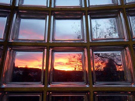 Glass, Module, Esslingen, Abendstimmung, Sky, Sun, Dusk