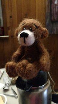 Teddy, Bear, Needle Felting, Toy, Teddy Bear, Brown
