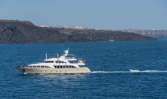 Santorini, Greece, Yacht, Water, Travel, Europe, Island
