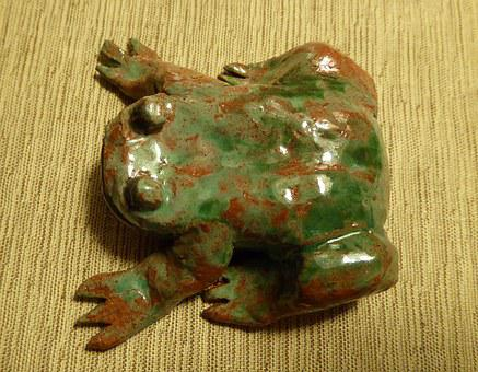 Toad, Clay Figure, Weel, Glazed, Tonkunst