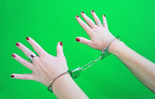 Handcuffs, Prisoners, Woman, Female, Slave, Greenbox