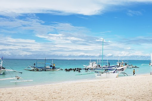 Republic Of The Philippines, Boracay, Sea, Sky, Yacht