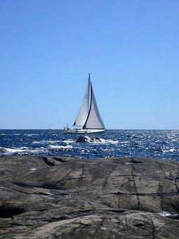 Sail, Wind, Rock, Water, Boat, Sea, Yacht, Summer