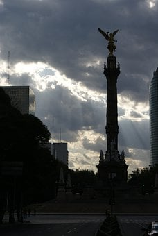 Mexico, Angel, Reform, Clouds, Monument