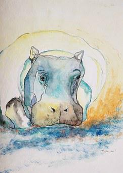 Hippo, Animal, Watercolour, Image, Painting