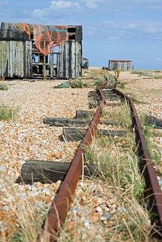 Rail Tracks, Old, Disused, Beach, Rusty, Shingle, Shack