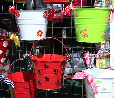 Flower, Colorful, Primary, Colors, Bucket, Crafts