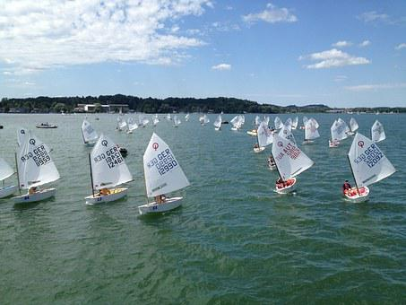 Sailor, Optimist, Water, Chiemsee, Sailing School, Blue