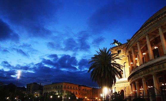 Palermo, Politeama, Piazza, Sunset, Teatro, City