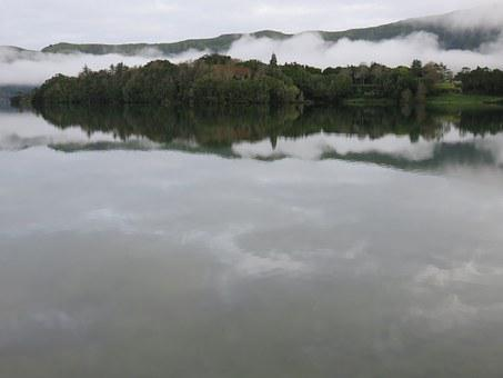 Lake, Crater, Reflection, Clouds, Grey, Volcanic Lake