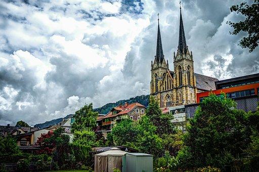 Church, Austria, St Johann, Clouds, Destination, Alps