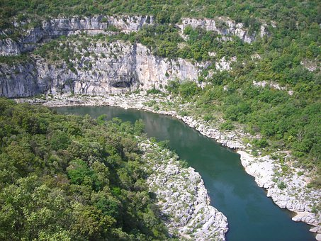 Ardeche, River, France, Meander, Loop, Canyon