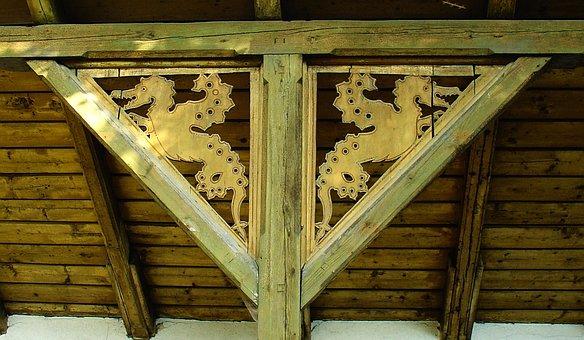 Wood, Carving, Holzfigur, Gable Figure