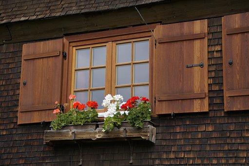 Farmhouse, Window, Geranium, Shutters, Wood, Woods