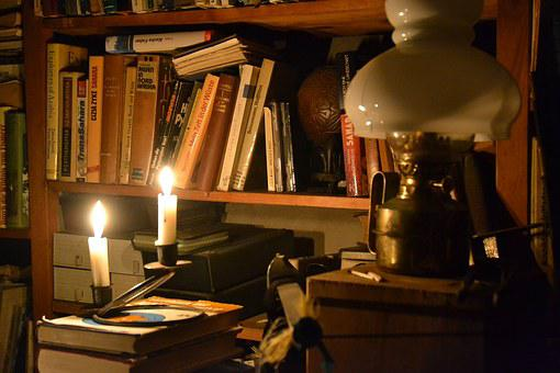 In Candlelight, Lamp, Bookshelf