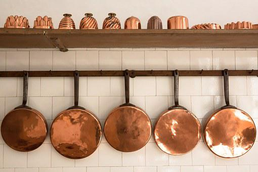 Pans, Copper, Old, Baking Moulds, Antique, Kitchen