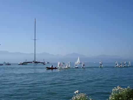 Catamaran, Alinghi, Lake Geneva, Lausanne, Switzerland