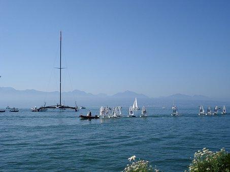 Catamaran, Alinghi, Lake Geneva, Lausanne, Switzerland