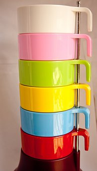 Mugs, Plastic, Colourful, Red, Blue, Yellow, Green