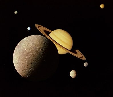 Outer, Space, Nasa, Moon, Saturn, Dione, Rings, Tethys