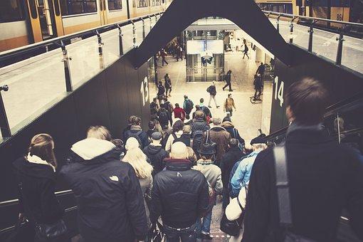 Public, Transport, People, Escalator, Station, Trains