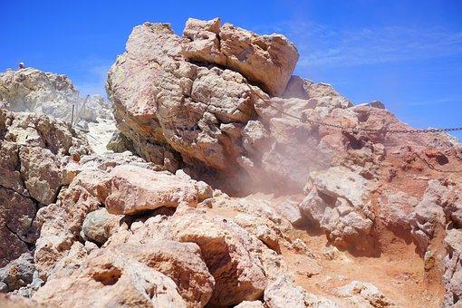Volcano, Steam, Sulfur Vapor, Crater Rim, Teide