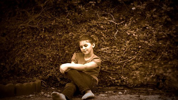 Girl, Portrait, Sepia, Vines, Wall, Young, Warm