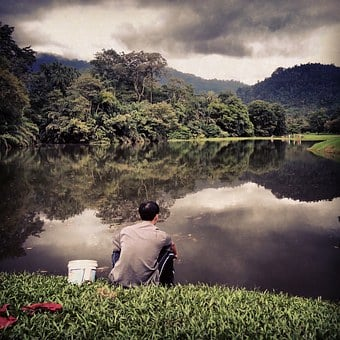 Nature, Taiping, Fishing, Cloudy, Water Reflection