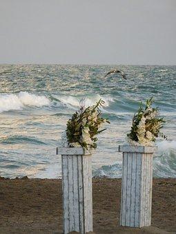 Beach, Ocean, Coast, Wedding Flowers On A Beach, Shore