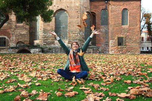 Leaves, Autumn, Listopad, Woman, Sitting On The Grass