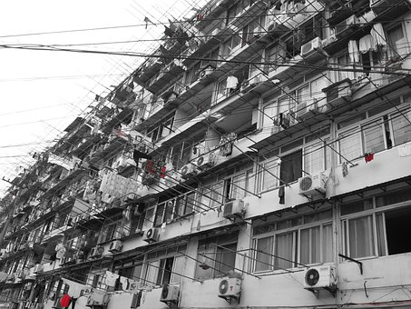 China, Street, Building, City, Old, Wires, Wire Clothes
