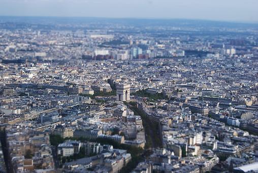 City, Eiffel Tower, France, Overview, Paris, Tilt Shift