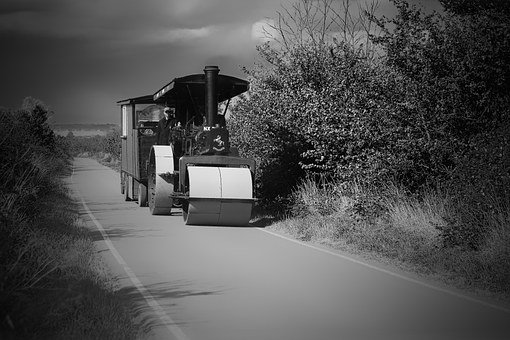 Road Roller, Workman's Trailer, Country Lane