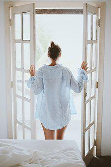 Morning, Bedroom, Bed, Door, Girl, House, Indoors