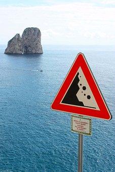 Sea, Capri, Faraglioni, Italy, Signage, Falling Rocks