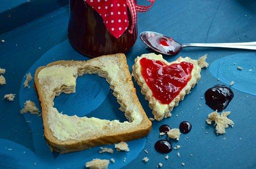 Bread, Jam Sandwich, Jam, Breakfast, Heart, Fruity