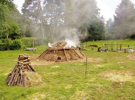 Meadow, Smoke, Smoking, Köhler, Mud Hut, Craft