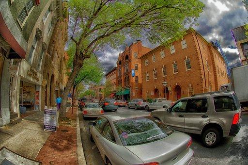 Frederick, Maryland, Town, Street, Cars, Trucks, Trees
