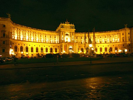 Vienna, Hofburg Imperial Palace, Night, Castle, Austria