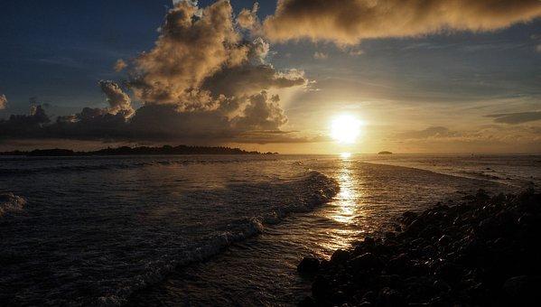 Sunset, Sea, Sun, Holidays, West, Romance, Rays