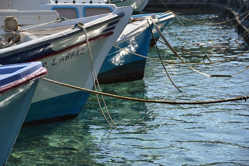 Boats, Harbour, Chalki, Greece, Rope, Moring, Sea