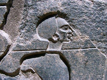 Egypt, Relief, Stone Relief, Excavation, Head