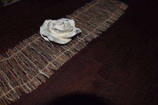 Deco, White Rose, Wood, Decoration, Stone, Table