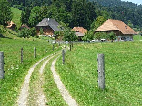 Switzerland, Buildings, Landscape, Lane, Fields, Summer