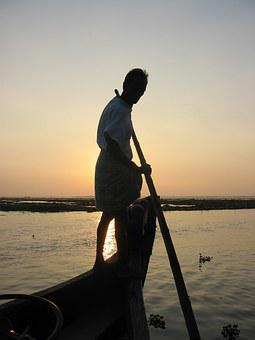 Man Punting Boat, Travel, Boat, Vessel, Water, People