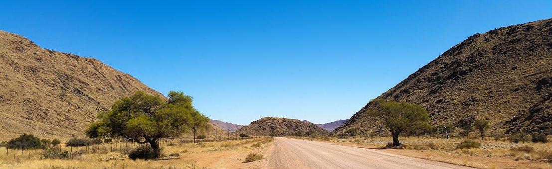 Africa, Namibia, Wilderness, Landscape, Road, Karg